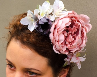 Faux Flower Headband Crown Fascinator Pink Ivory