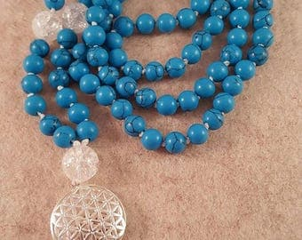 Prayer Chain (Mala) from Turquoise 6 mm, rock crystal 10 mm and Flower of life-925 silver