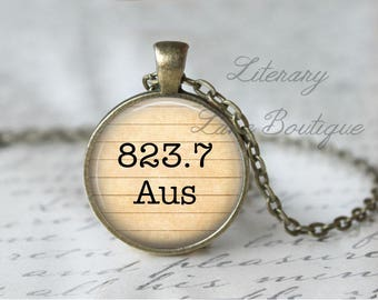 Jane Austen '823.7 AUS' Dewey Decimal, Library Books, Reading Necklace or Keyring, Keychain.