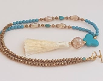 Tassel necklace, Butterfly Turquoise necklace, Statement Tassel necklace, Long Tassel necklace, Gemstone Tassel necklace, Boho Style.