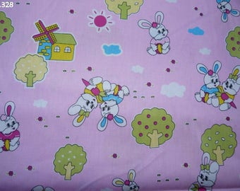 Fabric C328 bunnies on pink coupon 35x50cm
