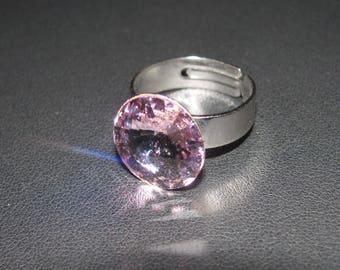 Genuine Swarovski (R) Light Rose Crystal cabochon ring