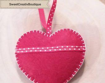 Padded felt heart handmade