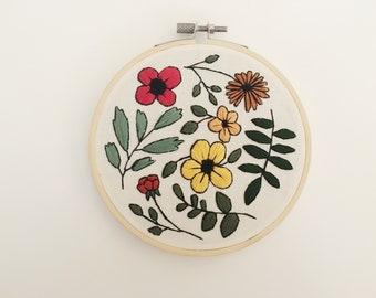 Vintage Floral Embroidery Hoop Art