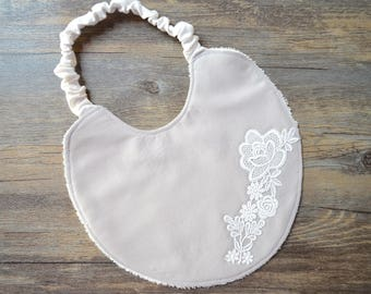 Cotton bib with lace applied