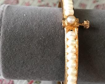 Vintage Fresh Water Pearl Screw Bangle Bracelet