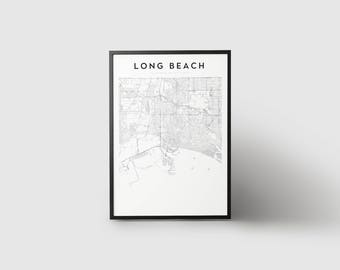 Long Beach Map Print
