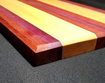 Maple Cutting Board with Pauduk, Purpleheart Stripes, Appetizer Tray, Serving Platter, Charcuterie Board