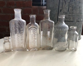 Antique apothecary bottles lot - 5 clear bottles