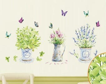 Vinyl Wall Stickers, Floral Wall Decals, Potted Flower, Butterfly Wall Decal,  Plant Part 49