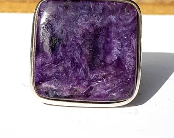 Charoite Square  Silver Ring, Adjustable size
