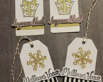 set of 4 craft tags for Christmas gifts gold tones