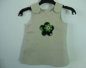 DRESS HAPPY FLOWER BEIGE 9/12 MONTHS