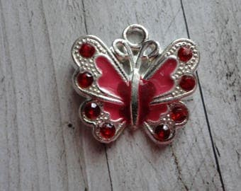 21.5x21 mm red enameled silver Butterfly charm