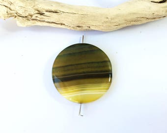 Striped green agate gemstone, 30 * 12mm (82MD) large round bead