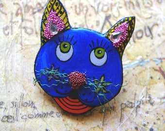 """""""brooch"""" Blue Cat with a curly mustache """""""