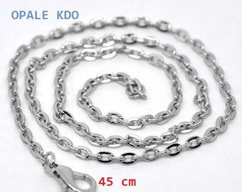 Chain silver necklace with clasp 45 cm