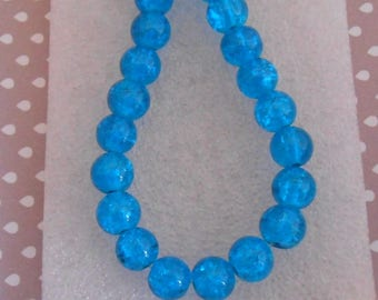 Set of 20 8 mm blue cracked glass beads