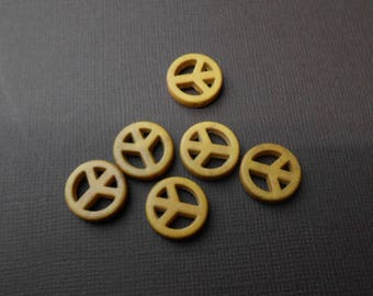 Set of 6 beads 15 mm howlite yellow peace sign