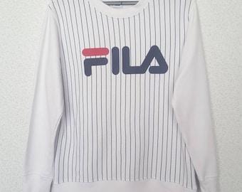 Rare!! Vintage Fila big logo sweatshirt Embroidery, Fila