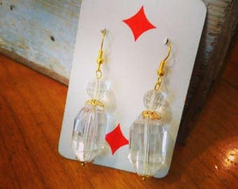 HANDMADE EARRINGS with faceted crystals and gold details