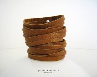 Multi row TAGLIATELLE Tan - caramel brown leather Cuff Bracelet