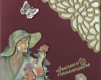 3D card woman in hat with roses and Butterfly