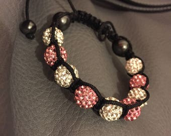 Lovely shamballa inspired crystal bracelet in white and pink