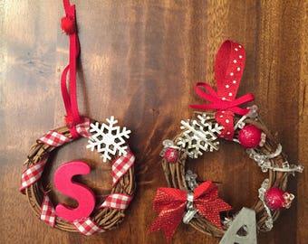 Personalized Christmas Ornaments (Mini Grapevine Wreaths), Ornaments, Christmas Ornaments