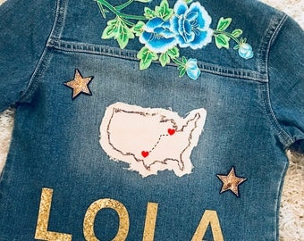 Embroidered Jean Jacket with Custom Name