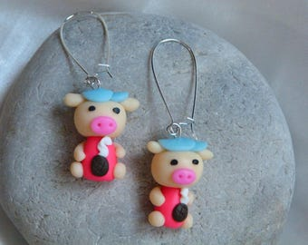 LITTLE PIG WITH POLYMER CLAY EARRINGS