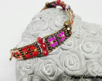 """Bracelet """"LOOM"""" woven DELICA seed beads and faceted beads"""