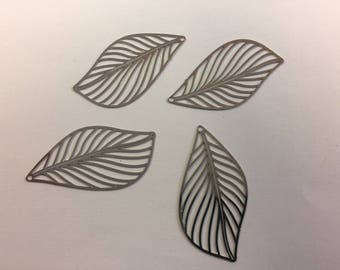 prints 10 leaves 42x22mm silver jewelry designs