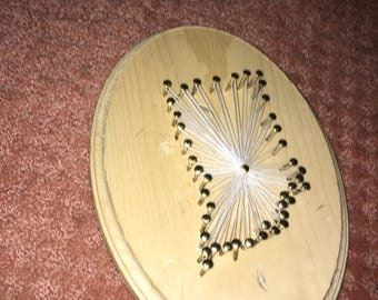 Indiana string art on wooden plaque