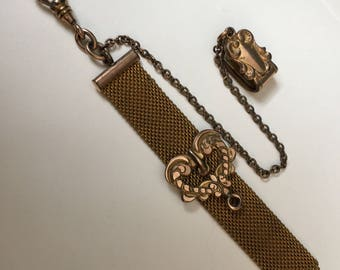 Watch Fob Mesh Slider Victorian Gold Filled