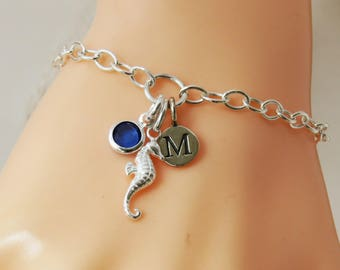 Seahorse Charm Bracelet, Seahorse, Initial Birthstone Bracelet, Sterling Silver Seahorse Jewelry, Ocean Gift, Beach Jewelry, Gift for Her