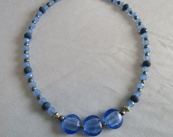 Denim Blue & Silver Glass Necklace w Lamp worked beads