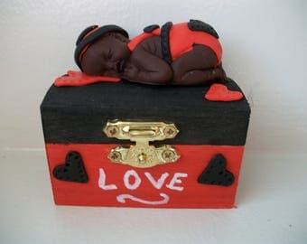 Valentine's day jewelry box. Black and Red decoration handmade fimo baby.