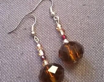 Brown glass beads earrings
