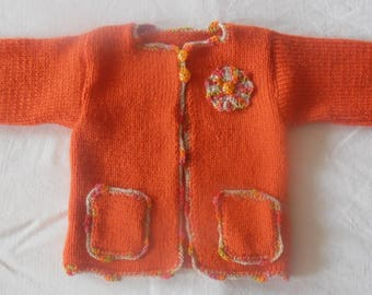 Vest / jacket Nasturtium 6 months handmade knit