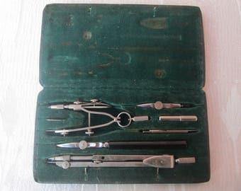 "Vintage drawing tools, Antique Drawing tool, Drawing Instruments ""Kinex"", Set and Case, Architectural tools, Special gift"