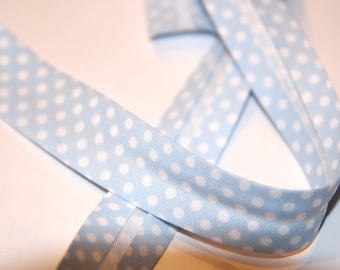 18MM SKY BLUE POLKA DOT POLYCOTTON BIAS AND WHITE