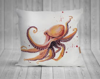 Pillow with Octopus watercolor motif, hand-sewn, 50x50cm, with individualisierterer back