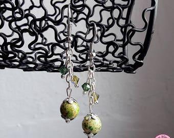 Earrings green Jasper and Swarovski crystals