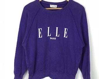 Rare!!! Vintage!!! Elle Sweatshirt Sports Paris Sweatshirt Pullover Spellout Big Print Jumper