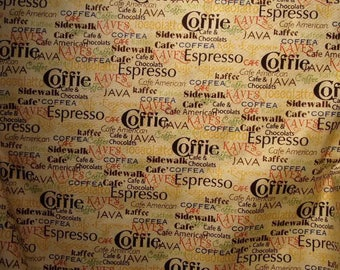 Patchwork Quilting Treasures, coffee theme fabric