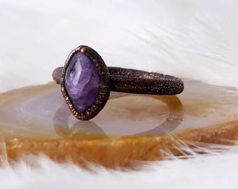 Size 7 amethyst stacker ring electroformed copper crystal ring