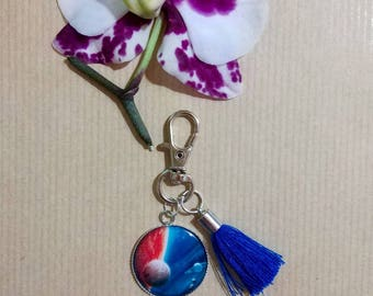 Keychain cabochon planets, world charm with epoxy resin