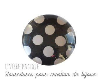 2 cabochons glue dots white background glass black 20/18/16/14/12 mm M321 choice