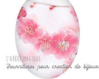 Cabochon glass 18 x 25 mm pink and white 1825c521 flower Crown